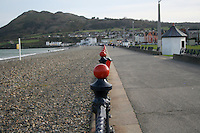 Victorian painted railings on the seafront in wintertime at the seaside town of Bray in Wicklow Ireland