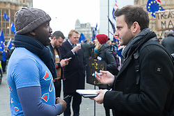 Bild journalist Philip Fabian speaks with influential anti-Brexit campaigner Femi Oluwole, Leader of Our Future Our Choice, who has over 127,000 Twitter followers. London, January 15 2019.