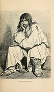 Tsigane [Tzigane or Romani] Prisoner in chains engraving on wood From The human race by Figuier, Louis, (1819-1894) Publication in 1872 Publisher: New York, Appleton