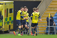 Oxford United Players Celebrate after Oxford United Midfielder, John Lundstram (4) scores a goal to make it 1-1 during the EFL Sky Bet League 1 match between Oxford United and Scunthorpe United at the Kassam Stadium, Oxford, England on 18 March 2017. Photo by Adam Rivers.