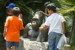 Young Visitors With Gorilla Bust, Los Angeles Zoo