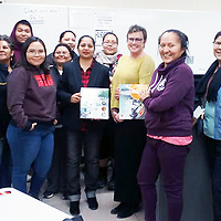 Diné College microbiology professor Shazia Tabassum Hakim, Ph.D., recently organized a lecture on the achievement gap in higher education. Kelly Cowan, Ph.D., from Miami University in Ohio spoke about the subject at Diné College's Tuba City, Arizona, campus.