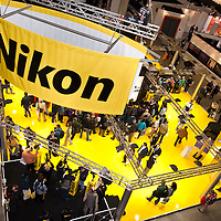 MILAN - MARCH 25: Nikon stand at Photoshow 2011 in Milan Fair on March 25, 2011.