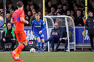 AFC Wimbledon attacker Shane McLoughlin (38) passing the ball during the The FA Cup 5th round match between AFC Wimbledon and Millwall at the Cherry Red Records Stadium, Kingston, England on 16 February 2019.