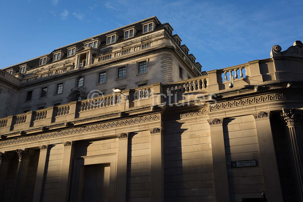 Exterior of the Bank of England on Threadneedle Street in the Square Mile, the capitals financial district, on 13th November 2017, in the City of London, England. The Bank of England, is the central bank of the United Kingdom and the model on which most modern central banks have been based. Established in 1694, it is the second oldest central bank in the world. Sir Herbert Bakers rebuilding of the Bank, demolishing most of Sir John Soanes earlier building, was described by architectural historian Nikolaus Pevsner as the greatest architectural crime, in the City of London, of the twentieth century.