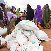 Food relief being distributed during the East African drought. Wajir, North Eastern Province, Kenya.