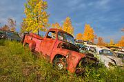 Vintage old vehicle in wrecking yard