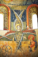 Byzantine Romanesque style angel fresco from a Catalan church. MNAC Barcelona<br /> <br /> If you prefer you can also buy from our ALAMY PHOTO LIBRARY  Collection visit : https://www.alamy.com/portfolio/paul-williams-funkystock/romanesque-art-antiquities.html<br /> Type -     MNAC     - into the LOWER SEARCH WITHIN GALLERY box. Refine search by adding background colour, place, subject etc<br /> <br /> Visit our ROMANESQUE ART PHOTO COLLECTION for more   photos  to download or buy as prints https://funkystock.photoshelter.com/gallery-collection/Medieval-Romanesque-Art-Antiquities-Historic-Sites-Pictures-Images-of/C0000uYGQT94tY_Y