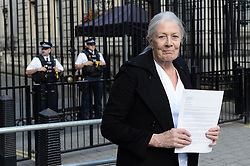 Vanessa Redgrave delivers a letter to 10 Downing Street in London, calling for an amnesty to allow unaccompanied children into the UK who are currently in Calais migrant camps and have family in Britain.
