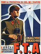 World War II 1939-1945: Recruiting poster for the Forces Terrestres Antiaeriennes,  a French anti-aircraft artillery regiment.