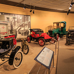 Antique automobiles are on display at the Pennsylvania State Museum in Harrisburg.