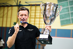 Gregor Rozman, head coach of Calcit Volley with medal and trophy after 3rd Leg Volleyball match between Calcit Volley and Nova KBM Maribor in Final of 1. DOL League 2020/21, on April 17, 2021 in Sportna dvorana, Kamnik, Slovenia. Photo by Matic Klansek Velej / Sportida