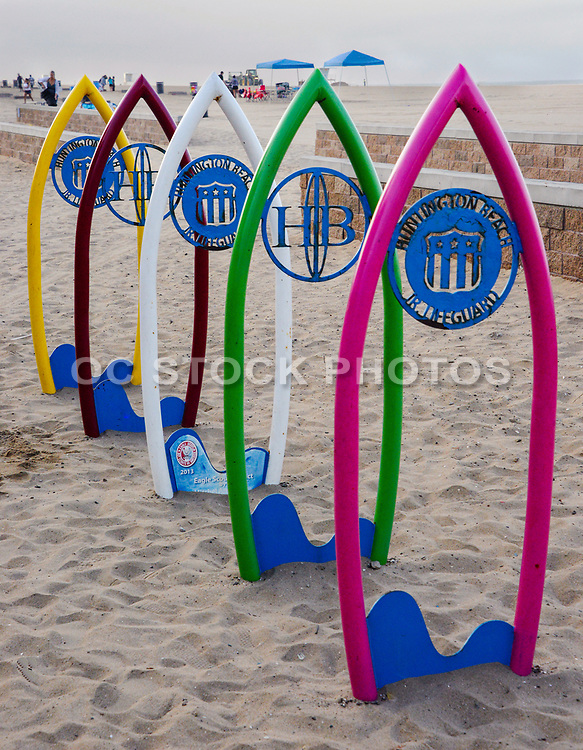 Surfboard Bike Racks Near the Huntington Beach Junior Lifeguard Headquarters