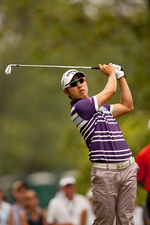 BETHESDA, MD - JULY 1: Sang-Moon Bae of South Korea plays a tee shot during the final round of the 2012 AT&T National at Congressional Country Club in in Bethesda, Maryland on July 1, 2012. (Photograph ©2012 Darren Carroll) *** Local Caption *** Sang Moon Bae