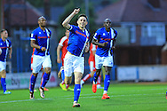 Ian Henderson celebrates 1-1 during the EFL Cup match between Rochdale and Chesterfield at Spotland, Rochdale, England on 9 August 2016. Photo by Daniel Youngs.
