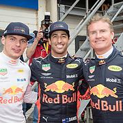 NLD/Zandvoort/20180520 - Jumbo Race dagen 2018, Daniel Ricciardo en David Coulthard en Max Verstappen