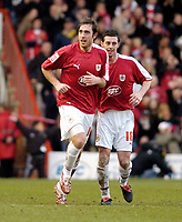 Photo: Leigh Quinnell.<br /> Bristol City v Middlesbrough. The FA Cup. 27/01/2007.<br /> Richard Keogh(L) happy with his goal for Bristol City.