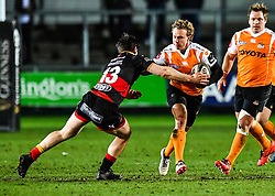 Cheetahs' Fred Zeilinga is tackled by Dragons' Sam Beard<br /> <br /> Photographer Craig Thomas/Replay Images<br /> <br /> Guinness PRO14 Round 18 - Dragons v Cheetahs - Friday 23rd March 2018 - Rodney Parade - Newport<br /> <br /> World Copyright © Replay Images . All rights reserved. info@replayimages.co.uk - http://replayimages.co.uk
