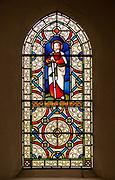 Stained glass window depicting Saint Paul, Kenton church, Suffolk, England, UK 1871 Lavers, Barraud and Westlake