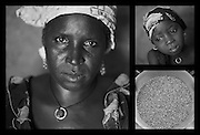 "Clockwise from left: Sahara Mahama, 40. Her daughter Mariama, 4. A bucket of millet at Sahara's home in Saran Maradi, Niger. (Photo: Rodrigo Ordonez/CARE)..Sahara Mahama has seven sons and a daughter. She lost four other children; one of them was only 14 days old. ""I lost the youngest one during the rains, in the lean season. I didn't have enough to eat."" .Eating has become increasingly harder through the years, recalls Sahara. ""When I was a kid, we used to have three meals: in the morning, at noon, and in the evening.? However, one meal a day has now become the norm. ""It's never guaranteed, but we try."" .Sahara participates in CARE's cash-for-work project. With the money she receives, she buys cereal and gives her children two meals per day."