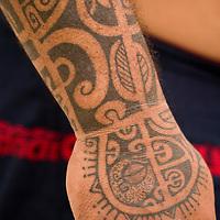 Huahine, French Polynesia, tatooed man, Moe