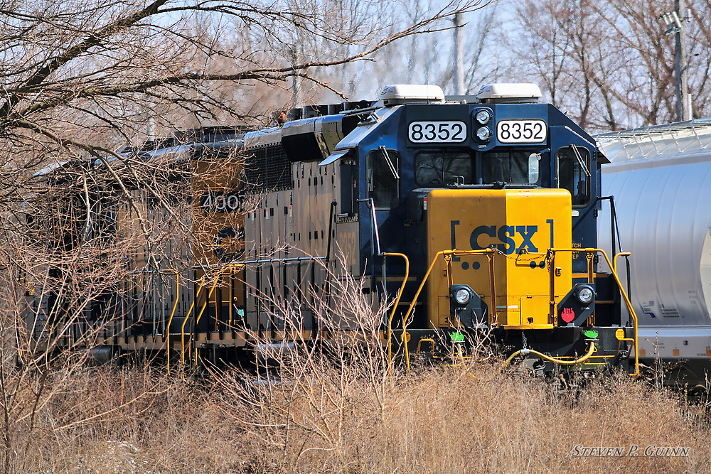 A lash-up led by a CSX SD40-3 locomotive drops off railcars in a siding on a sunny day in Rensselaer, Indiana.