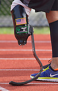 West Point, New York - An athletewith a running blade lines up for the start of the 1,500-meter run in the 2014 Army Warrior Trials at the United States Military Academy Preparatory School on Tuesday, June 17, 2014.<br /> Hosted by the U.S. Army Warrior Transition Command (WTC), the trials determine which athletes will compete at the 2014 Warrior Games this fall in Colorado Springs, Colorado.