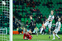 GRONINGEN - 08-02-2015 - FC Groningen - AZ,  Euroborg  Stadion, 2-4, AZ speler Markus Henriksen (2vl) scoort hier de 2-4, FC Groningen keeper Sergio Padt (l), FC Groningen speler Maikel Kieftenbeld (2vr), FC Groningen speler Martijn van der Laan (r).