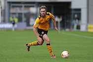 Scott Barrow of Newport county in action. Skybet football league two match, Newport county v York city at Rodney Parade in Newport, South Wales on Saturday 5th Sept 2015.  pic by Andrew Orchard, Andrew Orchard sports photography.