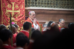 14 April 2019, Jerusalem: Palm Sunday service at the Church of the Holy Sepulchre, in the Old City of Jerusalem. Here, the head of the Roman Catholic Church in the Holy Land, titular Archbishop of Verbe and Apostolic Administrator of Jerusalem Pierbattista Pizzaballa.