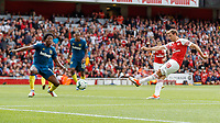 Football - 2018 / 2019 Premier League - Arsenal vs. West Ham United<br /> <br /> Nacho Monreal (Arsenal FC) scores to level the match at 1-1 at The Emirates.<br /> <br /> COLORSPORT/DANIEL BEARHAM