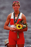 Atlanta, USA,  CAN W1X LAUMANN, Silken Suzette, on the awards dock after winning the Silver medal the final at the 1996, Olympic Rowing Regatta at Lake Lanier, Gainsville Georgia,  [Photo Peter Spurrier/Intersport Images]