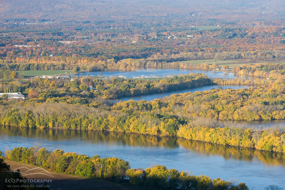 """""""The Oxbow"""" and the Connecticut River as seen from the Skinner Mountain House in Hadley, Massachusetts.  Skinner State Park.  Mount Holyoke."""