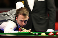 Judd Trump of England in action during his 1st round match against Andrew Higginson of England .  Coral Welsh Open Snooker 2017, day 2 at the Motorpoint Arena in Cardiff, South Wales on Tuesday 14th February 2017.<br /> pic by Andrew Orchard, Andrew Orchard sports photography.