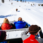 Clients watch bison in the Hayden Valley of Yellowstone National Park in winter.