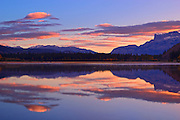 Roche Miette and Syncline Ridge  reflected in Jasper Lake<br /> Jasper National Park<br /> Alberta<br /> Canada