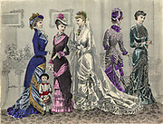 Colour drawing of Godey's women's Fashion for August 1880 from Godey's Lady's Book and Magazine, 1880 Philadelphia, Louis A. Godey, Sarah Josepha Hale,