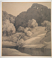 A watercolour painting in momotone of an English country scene with trees and rolling countryside and a river.