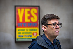 © Licensed to London News Pictures. 15/10/2020. Manchester, UK. Manchester Metro Mayor Andy Burnham at a press conference in front of Manchester Central Library in St Peter's Square , central Manchester , as negotiations continue regarding placing the city on a Tier 3 lockdown, closing pubs and limiting the ways in which households can mix, in order to reduce the spread of Coronavirus . Photo credit: Joel Goodman/LNP