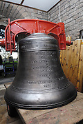 """UK, November 24 2014:  The new tenor bell that will be installed at All Saints East Budleigh church. The inscription on the other side of the bell bell states """"Anne and Brian Horrell married at All Saints East Budleigh 6th June 1959"""" . Copyright 2014 Peter Horrell."""