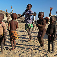 Africa, Namibia, Kunene. Children of the Himba tribe in northern Namibia.