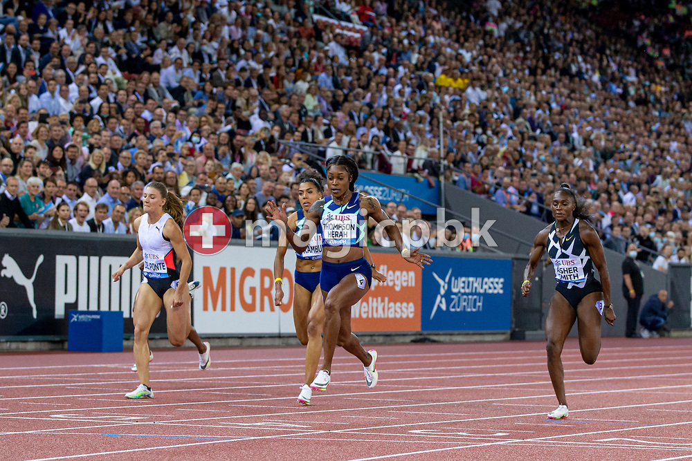 Elaine Thompson-Herah of Jamaica (CR) on her way winning the 100m Women ahead of third placed Ajla Del Ponte (L) of Switzerland, fifth placed Mujinga Kambundji (CL) of Switzerland and second placed Dina Asher-Smith (R) of Great Britain during the Iaaf Diamond League meeting (Weltklasse Zuerich) at the Letzigrund Stadium in Zurich, Switzerland, Thursday, Sept. 9, 2021. (Photo by Patrick B. Kraemer / MAGICPBK)