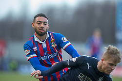 Inverness Caledonian Thistle's Jake Mulraney tackles Falkirk's Tommy Robson and gets a second yellow card. half time : Falkirk 0 v 0 Inverness Caledonian Thistle, Scottish Championship game played 27/1/2018 at The Falkirk Stadium.