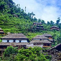 A hillside village in the Marsyandi River Valley, Nepal.