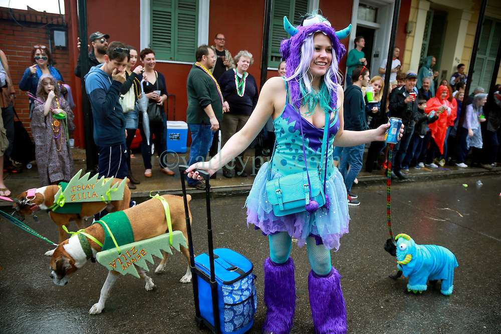 """23 Feb 2014. New Orleans, Louisiana.<br /> Jessica Edrington and her dog Lucy walk the wet and soggy streets of the French Quarter at the 22nd Mystic Krewe of Barkus parade, the only officially licensed Mardi Gras krewe by and for canines. This year's parade is themed  """"Dogzilla: Barkus Licks the Crescent City."""" <br /> Photo; Charlie Varley/varleypix.com"""