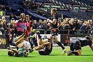 Luca Sperandio rolls over to score try during the Guinness Pro 14 2018_19 match between Edinburgh Rugby and Benetton Treviso at Murrayfield Stadium, Edinburgh, Scotland on 28 September 2018.