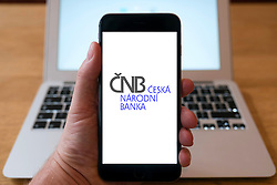 CNB Czech national bank website on iPhone smart phone mobile phone