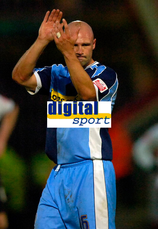 Photo: Richard Lane.<br />Cheltenham Town v Wycombe Wanderers. Coca Cola League 2. Play off Semi Final, 2nd Leg. 18/05/2006. <br />Wycombe's Tommy Mooney applauds the fans as he leaves the field injured.