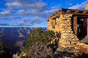 Evening light on the Yavapai Point Observation Station, South Rim of the Grand Canyon, Grand Canyon National Park, Arizona