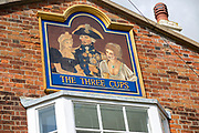The Three Cups historic pub sign with Lord Nelson, Harwich, Essex, England, UK